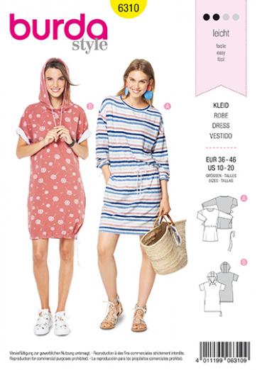 Bell-Shaped Skirt Burda Pattern 6311 Bare Shoulder Dress with Neckband Pinafore Dress