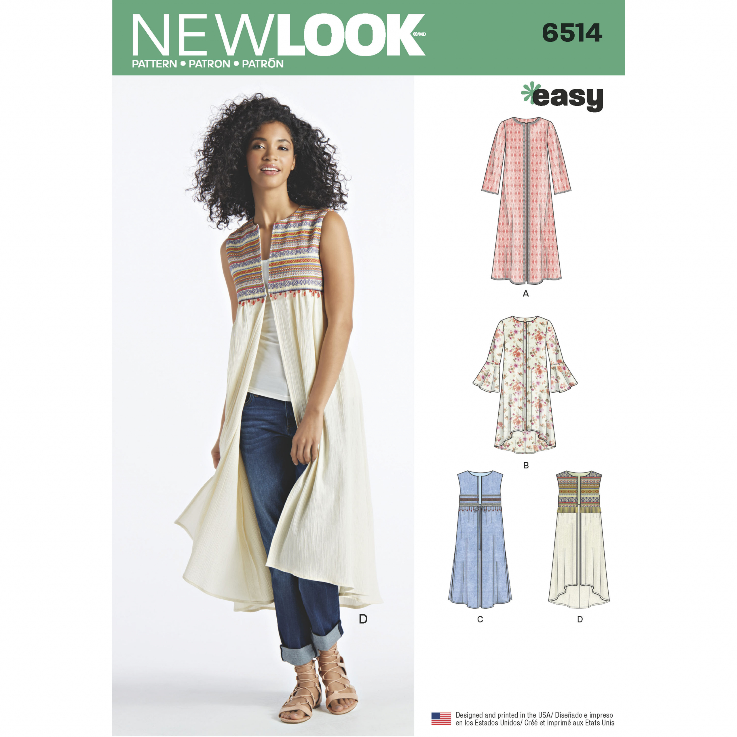 New Look 6514 Sizes XS-XL EASY Duster /& Vest Sewing Pattern~Sleeve Variations